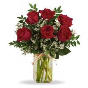 Sweetheart Roses in Mason Jar